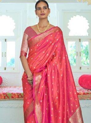 Pink Handloom silk Traditional Saree