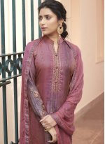 Pink Handwork Satin Designer Pakistani Suit