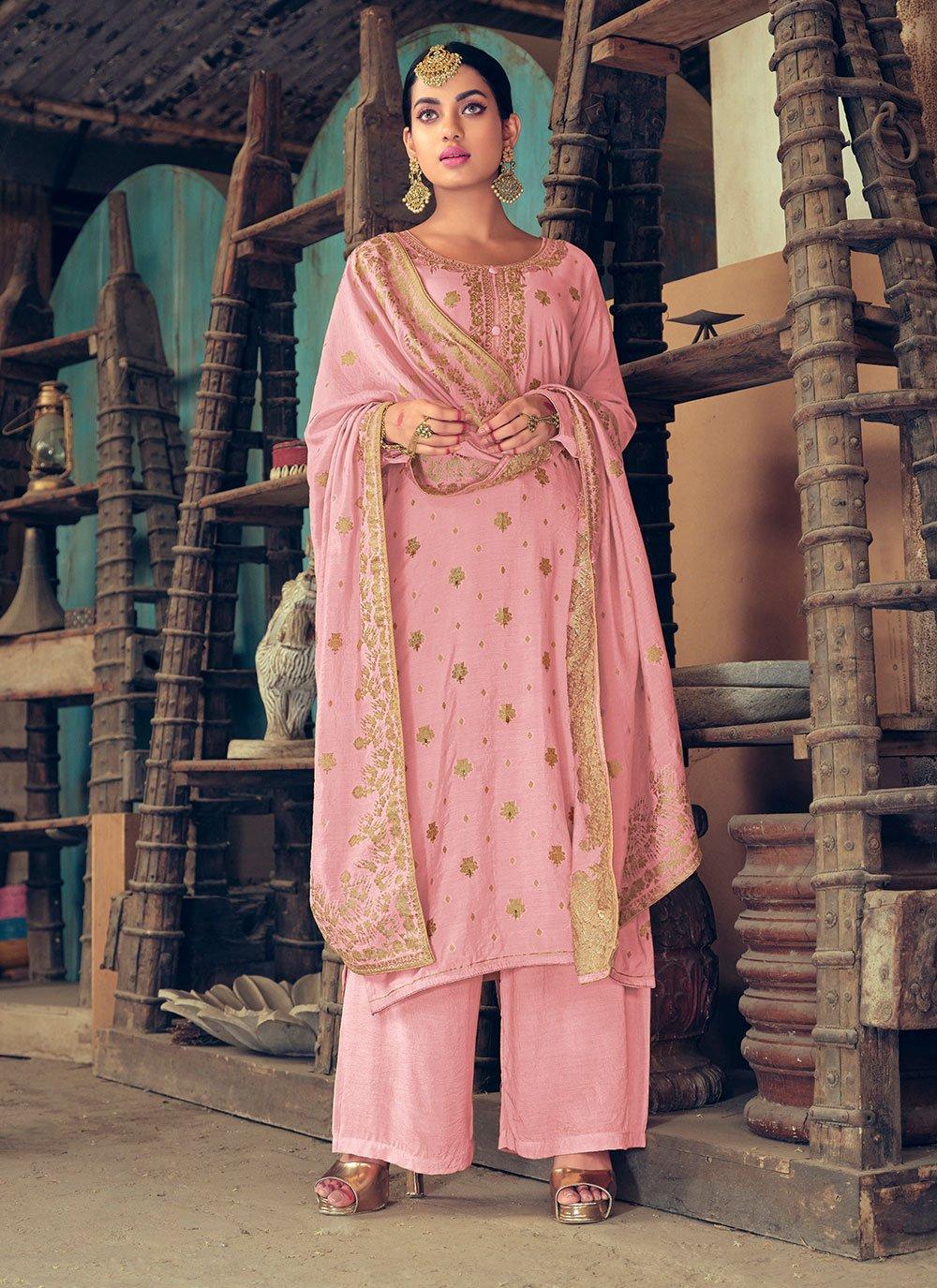 Pink Jacquard Silk Designer Palazzo Salwar Suit