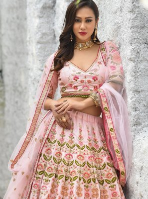 Pink Lace Silk A Line Lehenga Choli
