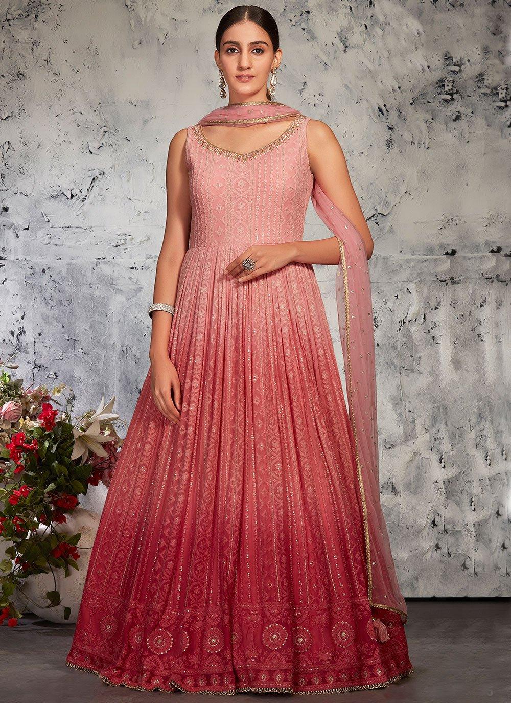 Pink Lucknowi Fancy Floor Length Anarkali Suit