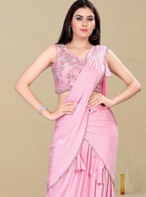Pink Lycra Handwork Classic Designer Saree