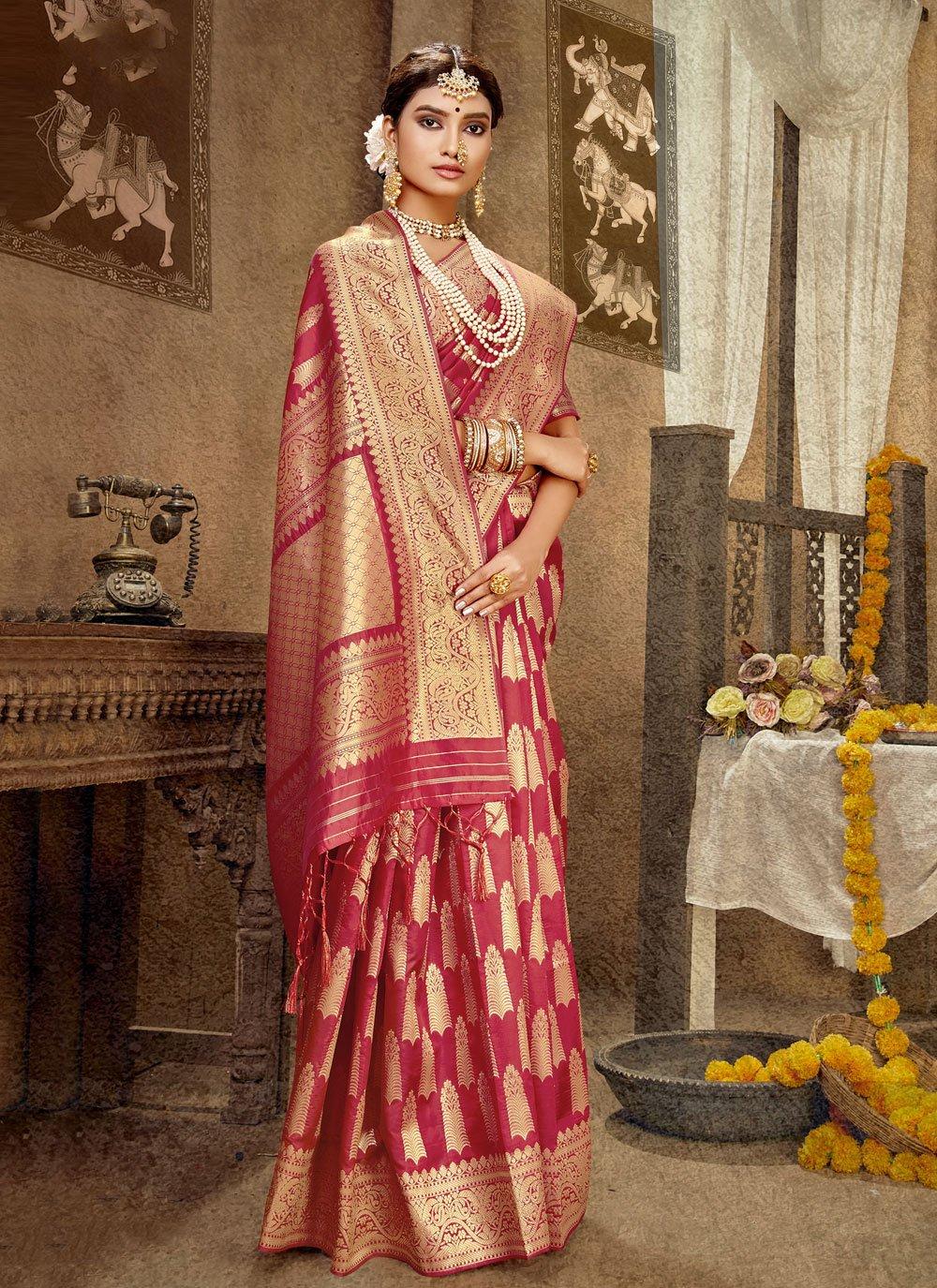 Pink Mehndi Designer Traditional Saree