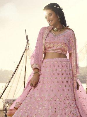 Pink Mehndi Organza Lehenga Choli