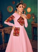 Pink Mirror Mehndi Floor Length Gown