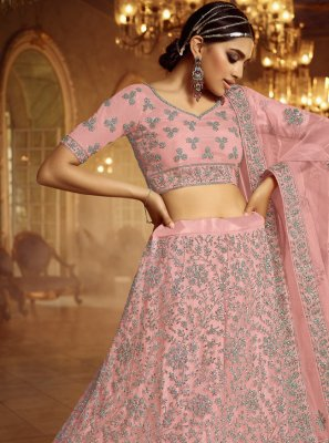 Pink Net Engagement Lehenga Choli