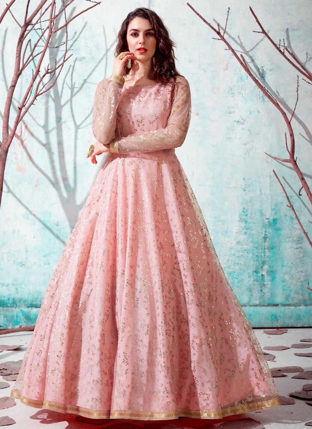 Pink Net Fancy Designer Gown