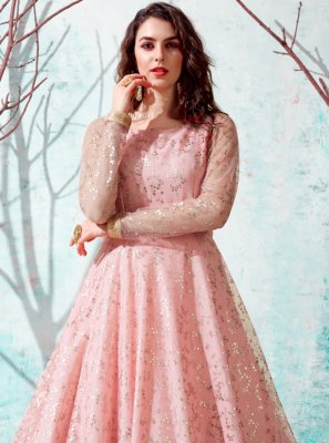 Pink Net Fancy Designer Gown