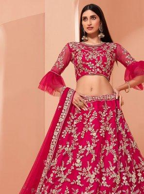 Pink Net Reception Lehenga Choli
