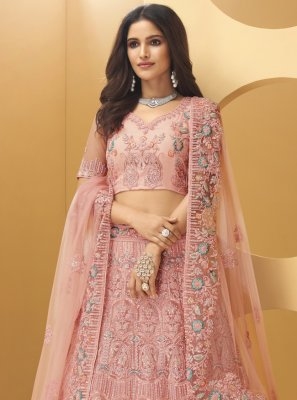 Pink Net Sangeet Lehenga Choli