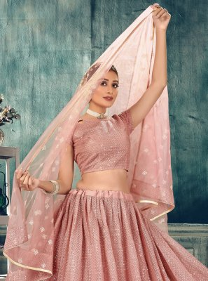 Pink Net Thread Lehenga Choli