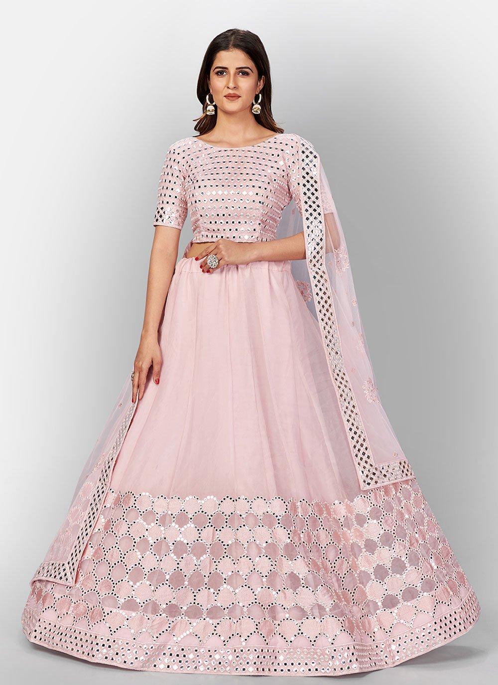 Pink Organza Lehenga Choli