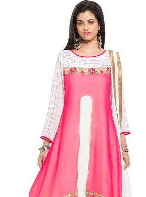 Pink Party Faux Georgette Readymade Salwar Kameez
