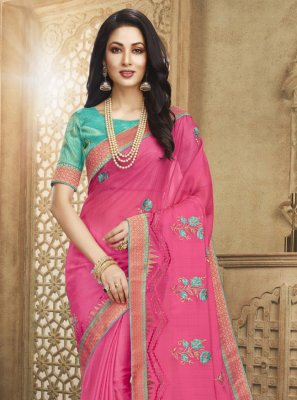 Pink Patch Border Fancy Fabric Designer Saree
