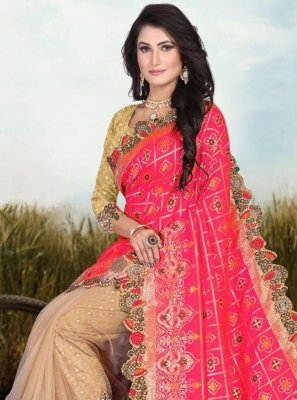 Pink Patch Border Fancy Fabric Half N Half Designer Saree