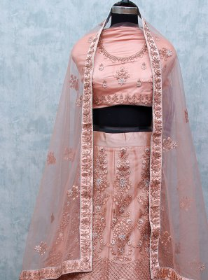 Pink Patch Border Net Lehenga Choli