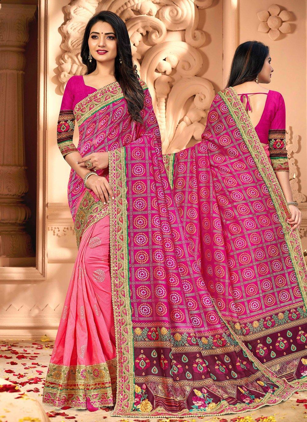 Pink Patch Border Silk Half N Half Trendy Saree