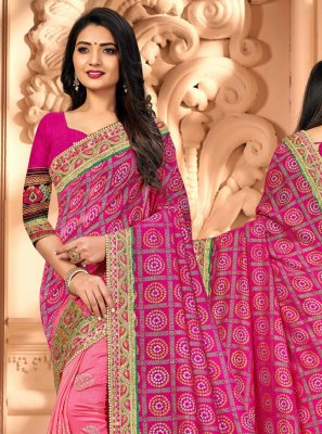 Pink Patch Border Silk Half N Half Trendy Saree