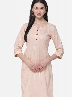 Pink Plain Cotton Casual Kurti