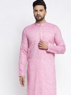 Pink Plain Cotton Kurta Pyjama