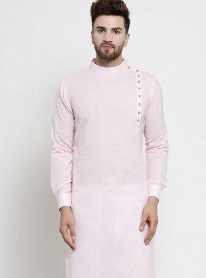 Pink Plain Engagement Kurta Pyjama