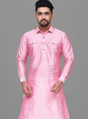 Pink Plain Mehndi Dhoti Kurta