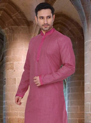 Pink Poly Cotton Plain Kurta Pyjama