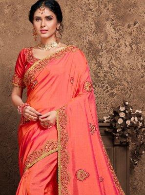 Pink Poly Silk Designer Saree