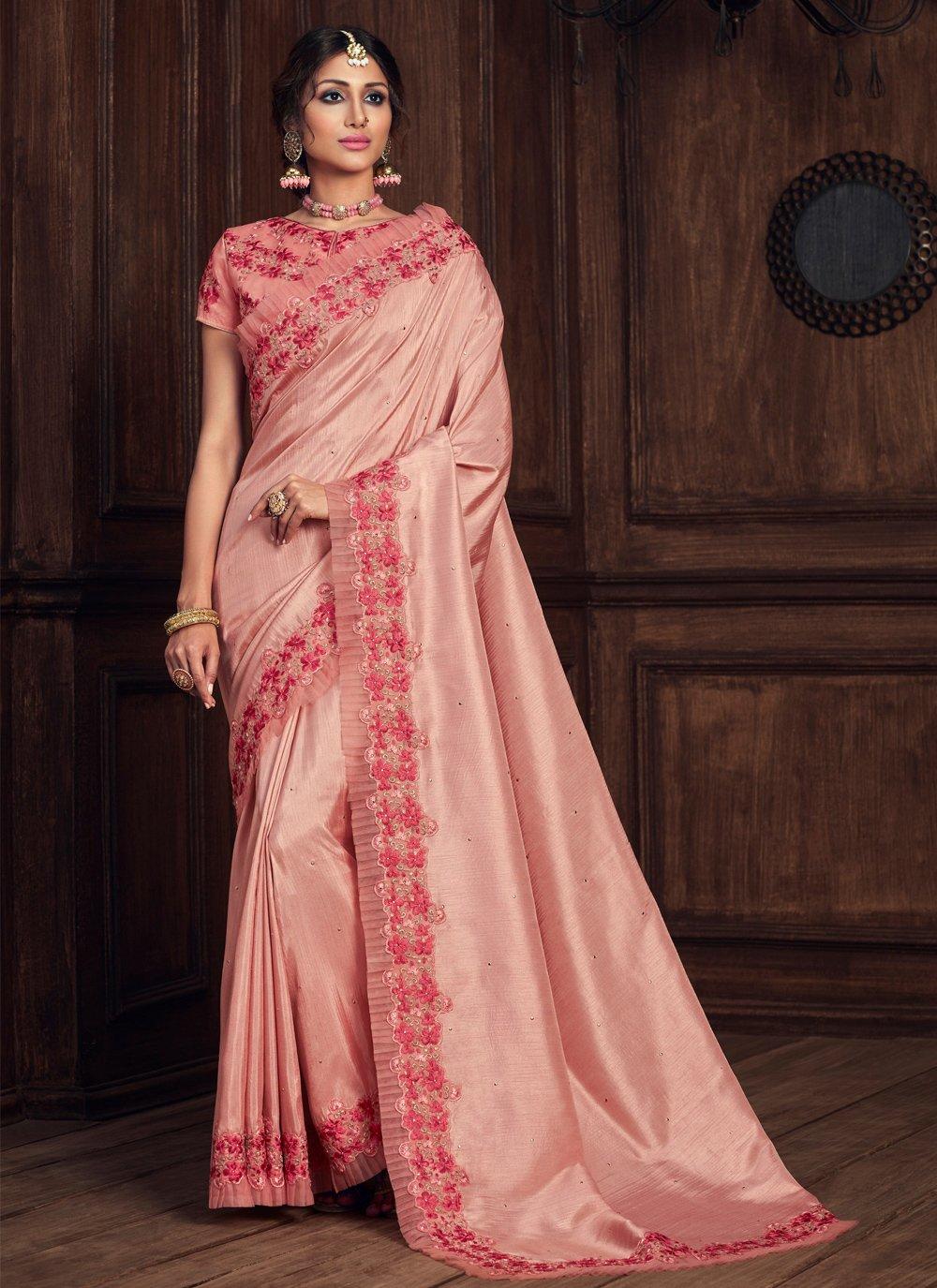 Pink Poly Silk Patch Border Designer Traditional Saree