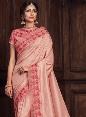Pink Poly Silk Patch Border Designer Traditional Saree