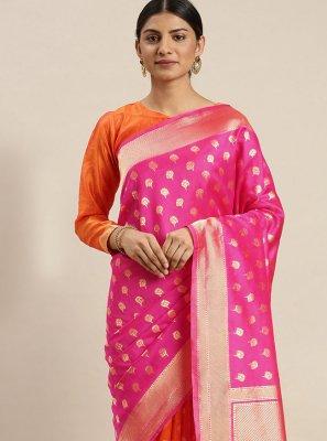 Pink Poly Silk Weaving Traditional Saree