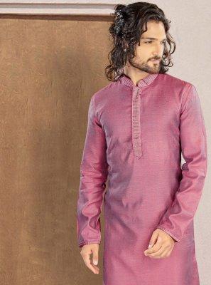 Pink Polyester Print Kurta Pyjama