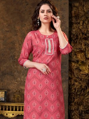 Pink Print Casual Party Wear Kurti