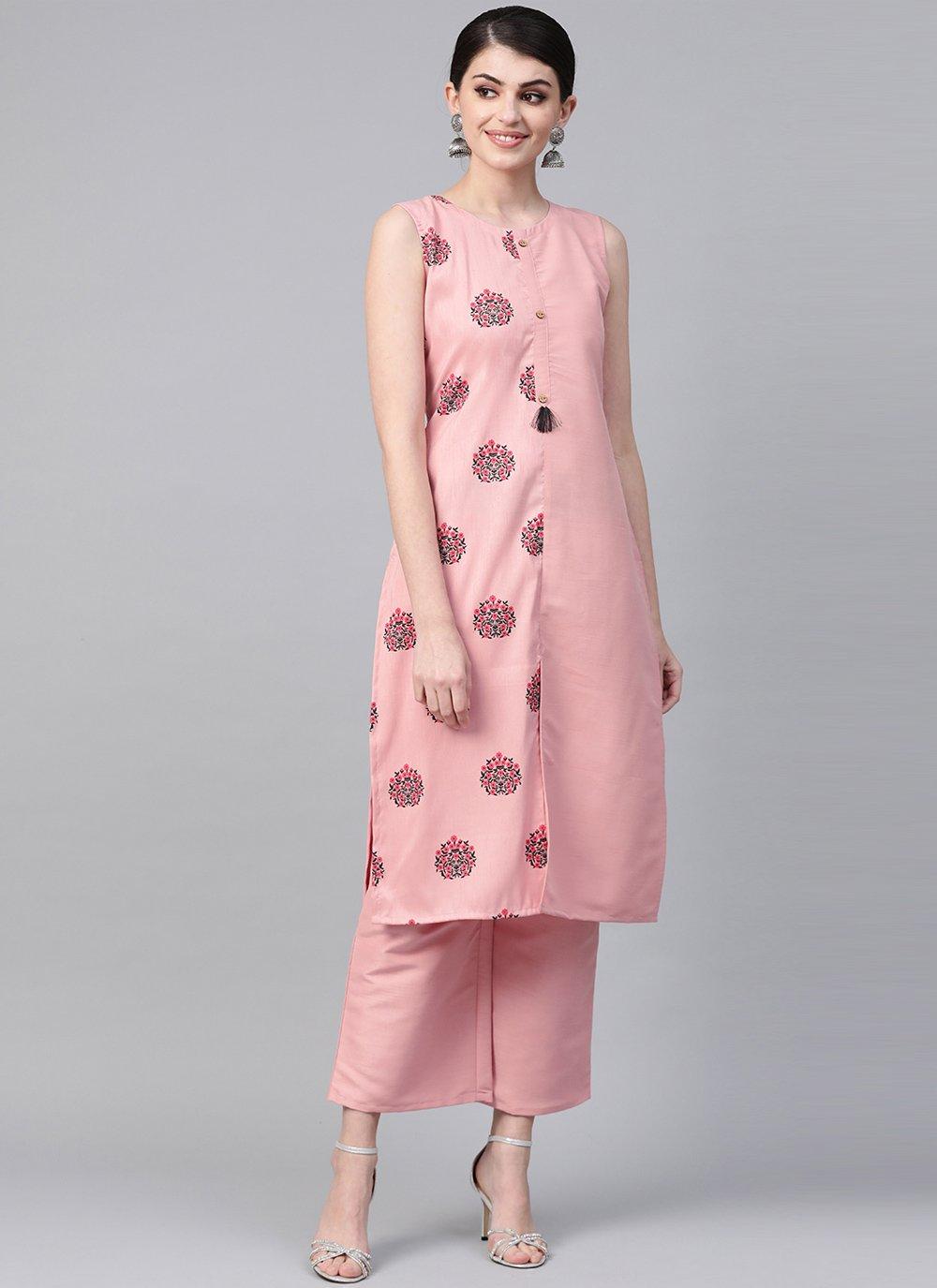 Pink Print Party Wear Kurti