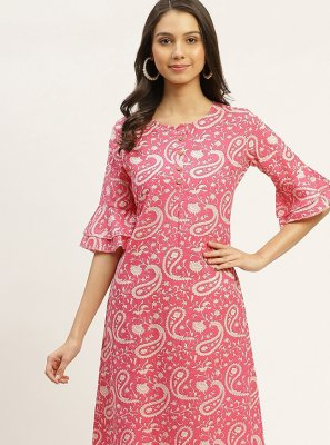 Pink Print Party Wear Kurti