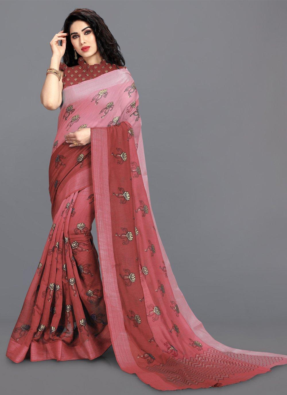 Pink Print Printed Saree