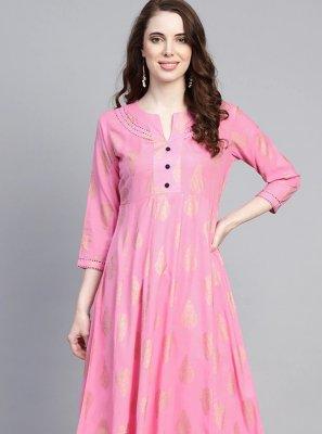 Pink Print Rayon Designer Kurti
