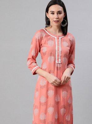 Pink Print Rayon Party Wear Kurti