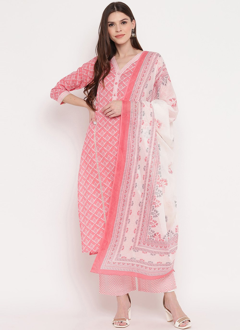 Pink Print Readymade Suit