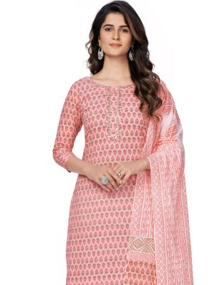 Pink Printed Cotton Readymade Suit