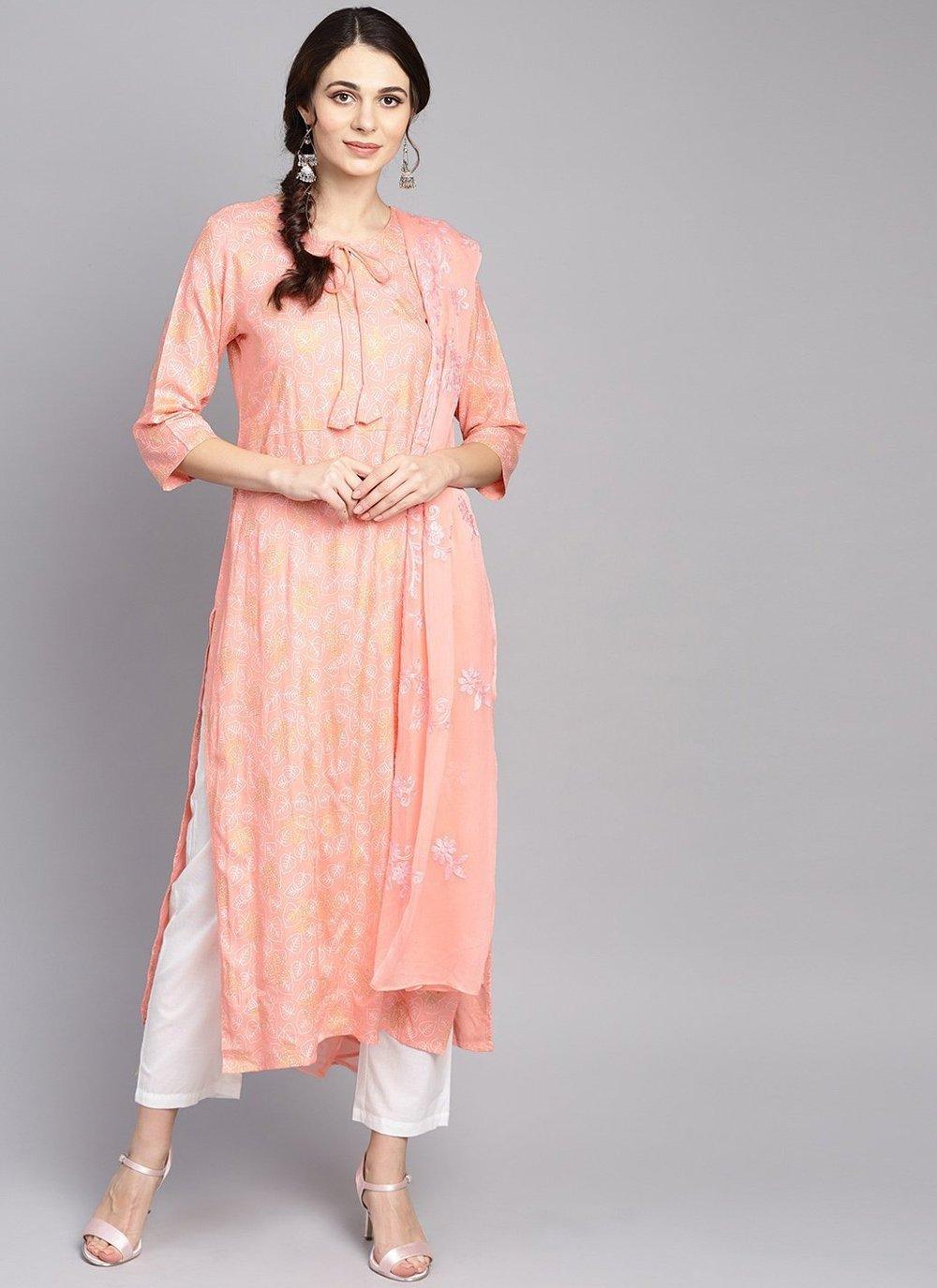 Pink Printed Cotton Trendy Salwar Kameez