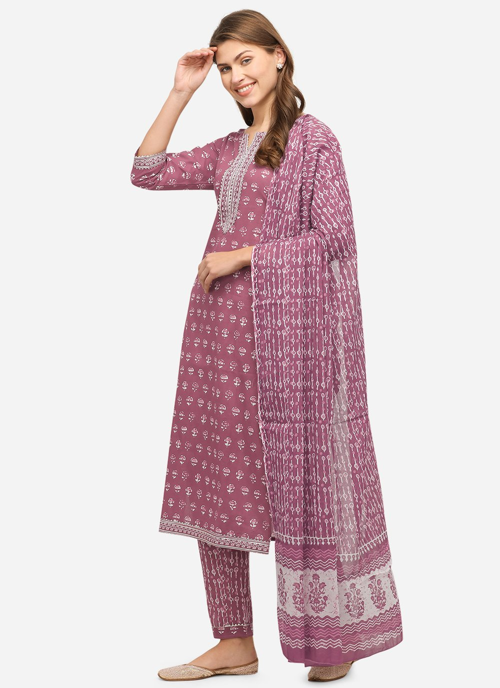 Pink Printed Readymade Suit