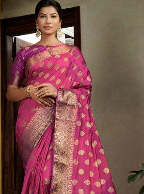Pink Raw Silk Wedding Contemporary Saree