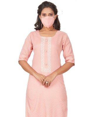 Pink Rayon Fancy Party Wear Kurti