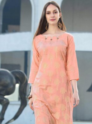 Pink Rayon Party Wear Kurti