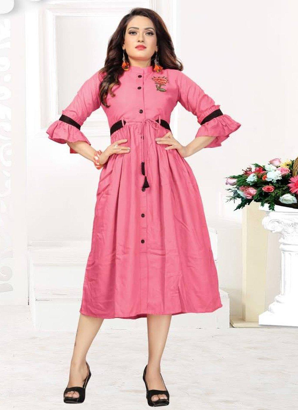 Pink Rayon Plain Casual Kurti