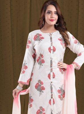 Pink Rayon Print Designer Straight Suit