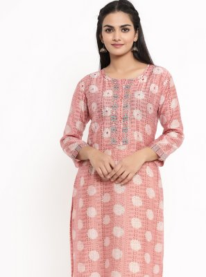Pink Rayon Print Party Wear Kurti