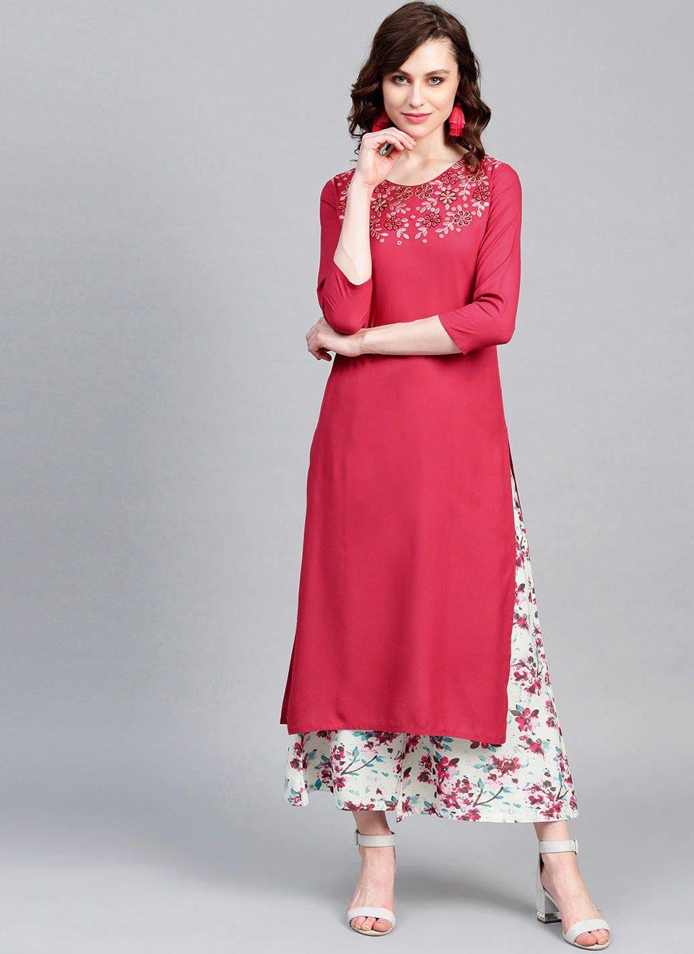 Pink Rayon Printed Party Wear Kurti