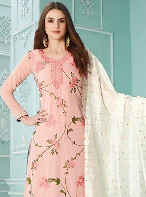 Pink Resham Ceremonial Designer Palazzo Salwar Suit